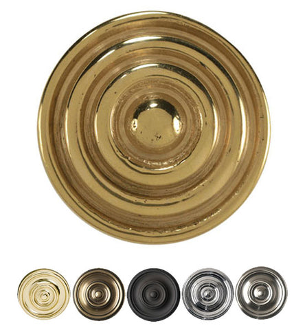 1 1/2 Inch Solid Brass Concentric Circle Cabinet Knob