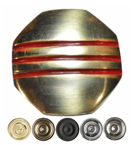 Red Striped Aged 1 Inch Pure Brass Art Deco Cabinet Knob