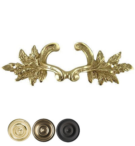6 Inch Solid Overall (4 3/8 Inch c-c) Brass Ornate French Leaves Pull