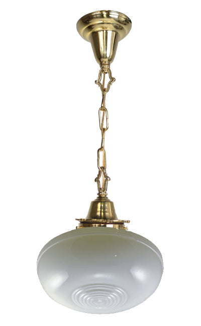 27 3/4 Inch Circular Style Glass Chain Pendant Lamp in Polished Brass