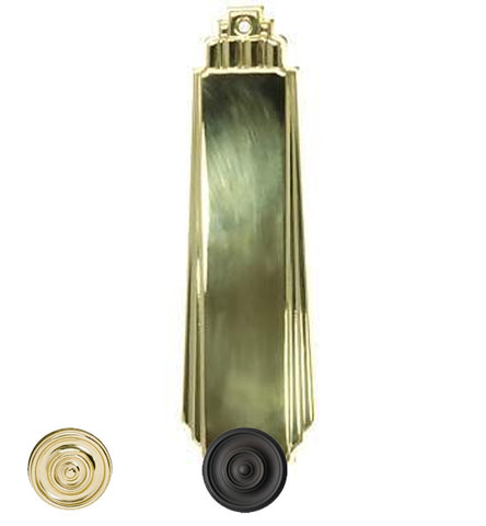 9 Inch Tall Art Deco Style Brass Push Plate