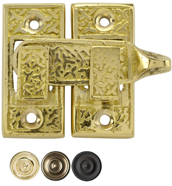 Solid Brass Rice Pattern Cabinet Latch