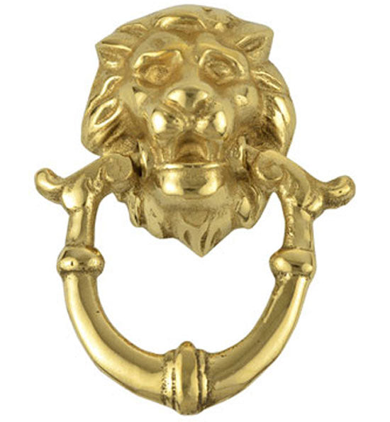 2 4/5 Inch Solid Brass Lion Drop Drawer Ring Pull