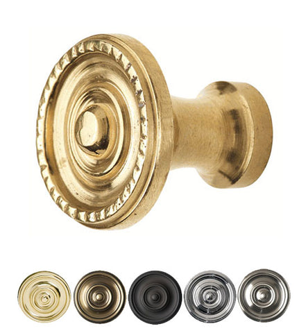 1 1/8 Inch Solid Brass Art Deco Circle Cabinet Knob