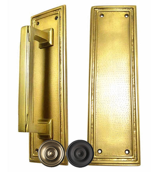 10 Inch Solid Brass Classic Style Push and Pull Plate Set