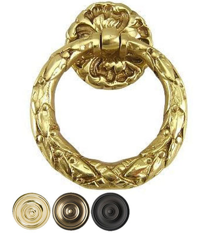 2 1/4 Inch Solid Brass French Floral Drawer Ring Pull