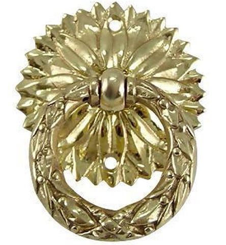 2 Inch Solid Brass Radiant Leaves Drawer Ring Pull