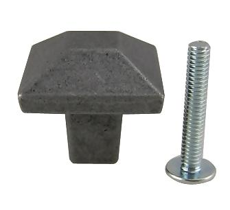 Pewter Mission Style Square Cabinet & Furniture Knob in a Black Finish