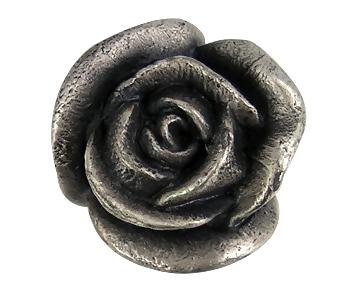 1 3/16 Inch Solid Pewter Rose Knob