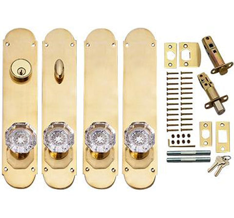 Traditional Oval Double Door Deadbolt Entryway Set in Polished Brass
