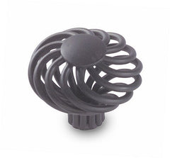 "1 1/2"" Flat Scroll Black Finish Metal Cabinet Knob"