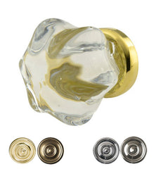 1 1/2 Inch Crystal Clear Glass Cabinet Knob