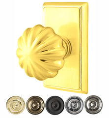 Solid Brass Melon Door Knob Set With Rectangular Rosette
