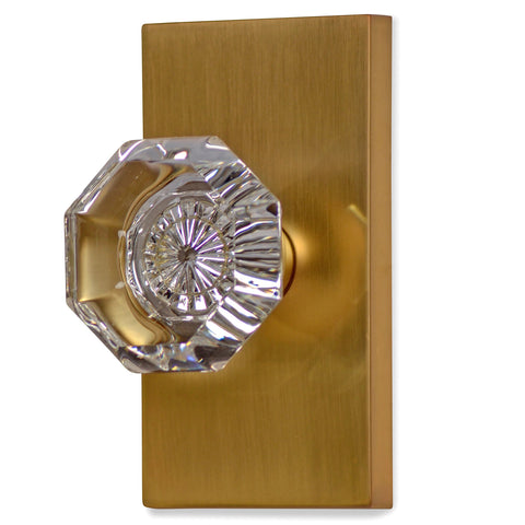 Providence Octagon Crystal Door Knob with Rectangular Plate