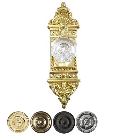 Octagon Glass Door Knob With Ornate Backplate