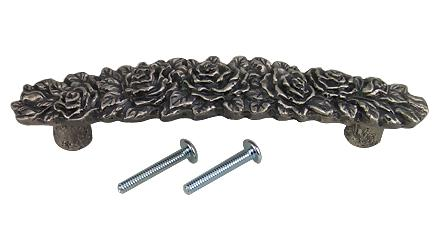 5 1/5 Inch (3 3/4 Inch c-c) Solid Pewter Rose Pull