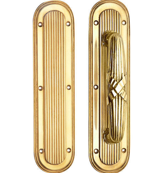 10 1/2 Inch Art Deco Style Door Pull and Push Plate