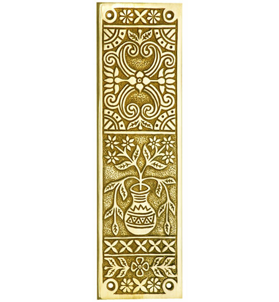 10 Inch Broken Leaf Pattern Solid Brass Push Plate