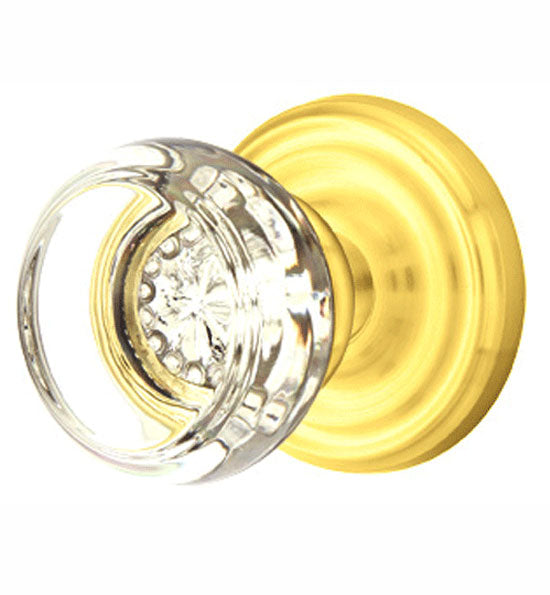 Emtek 810GT Georgetown Crystal Passage Knobset with Brass Rosette Pewter Knobset Passage