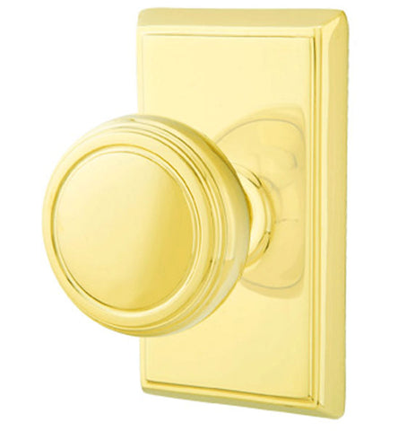Solid Brass Norwich Door Knob Set With Rectangular Rosette