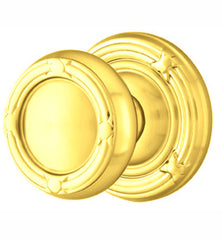Solid Brass Ribbon & Reed Door Knob Set With Ribbon & Reed Rosette