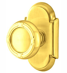 Solid Brass Ribbon & Reed Door Knob Set With # 8 Rosette