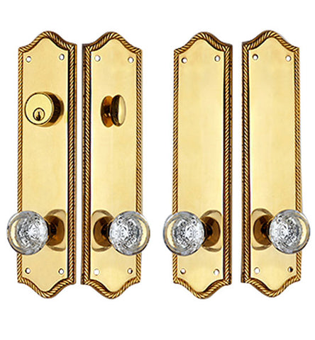 Georgian Roped Arched Double Door Deadbolt Entryway Set