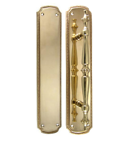 11 1/2 Inch Solid Brass Beaded Push & Pull Plate Set