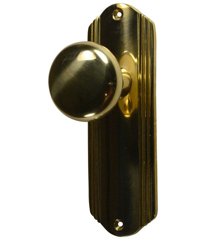Solid Brass Round Door Knob Set with Art Deco Back Plate