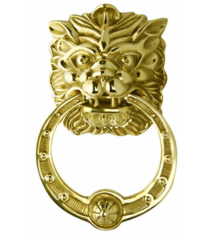 8 3/8 Inch Solid Brass Regal Lion Door Knocker in Several Finishes