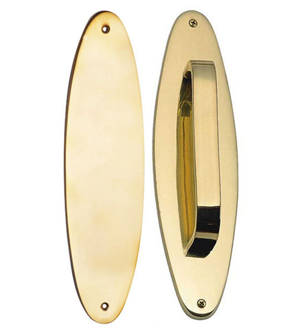 11 Inch Solid Brass Oval Push and Pull Plate Set Polished Brass Finish