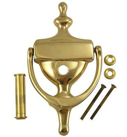 6 1/2 Inch Solid Brass Traditional Door Knocker in Polished Brass