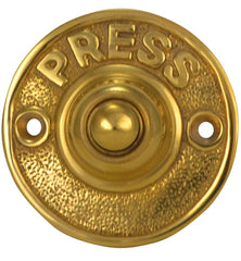 "Vintage ""Press"" Doorbell Button, Solid Brass (Several Finishes Available)"