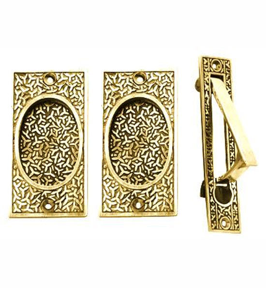 Rice Pattern Pocket Passage Style Door Set in Several Finishes