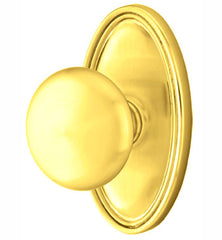 Solid Brass Providence Door Knob Set Oval Rosette Several Finishes