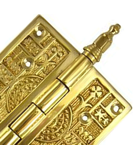 4 x 4 Inch Steeple Tipped Victorian Solid Brass Hinge