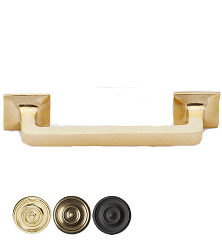 4 1/4 Inch Overall (3 Inch c-c) Solid Brass Square Traditional Pull
