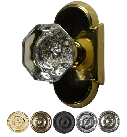 Solid Brass Providence Crystal Octagon Door Knob Set With Arched Rosette