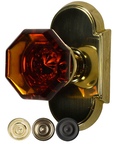 Amber Glass Crystal Octagon Door Knob Set With Arched Rosette