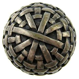 1 3/8 Inch Solid Pewter Antique Style Braided Basket Weave Knob
