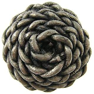 1 3/8 Inch Solid Pewter Decorative Rope Knob