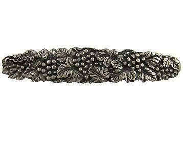 5 1/4 Inch (3 3/4 Inch c-c) Solid Pewter Antique Grapes And Vines Pull