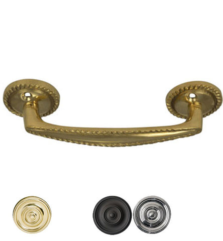 5 Inch Overall (3.75 c-c) Georgian Roped Style Solid Brass Pull