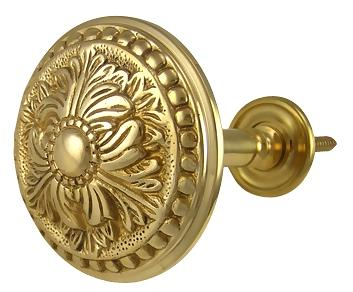 Solid Brass Curtain Tie Back - Large Baroque Button Style