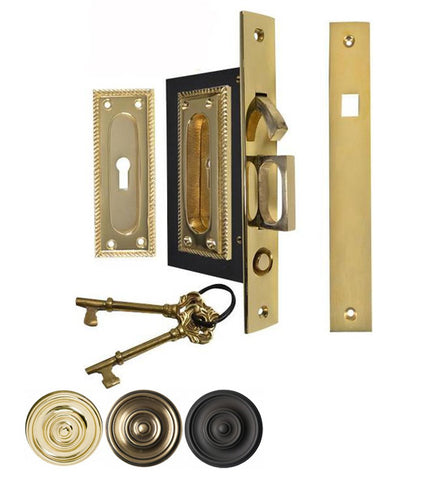 Georgian Square Pattern Pocket Privacy (Lock) Style Door Set
