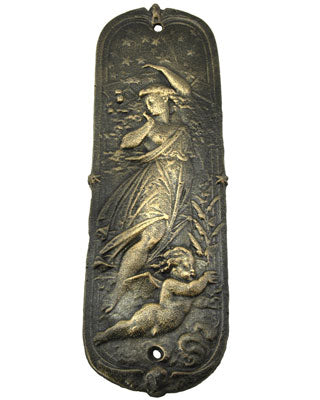 10 3/4 Inch Cast Iron Push or Finger Plate - Antique Reproduction Nude & Cherub 'Night""