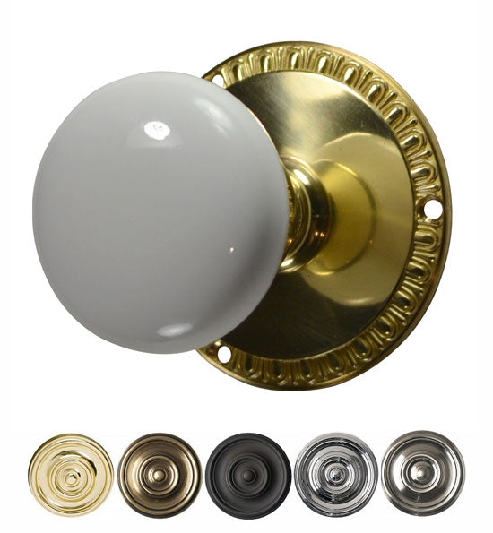 White Porcelain Door Knob with Egg & Dart Plate