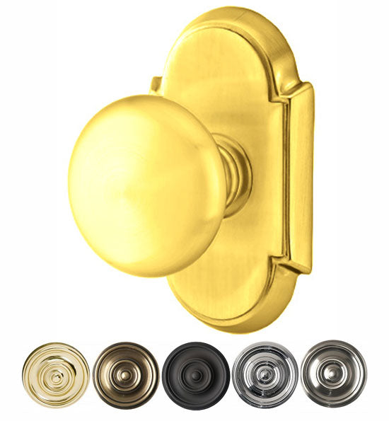 Solid Brass Providence Door Knob Set With # 8 Rosette