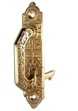 3 7/8 Solid Brass East Lake Pattern Cabinet Latch