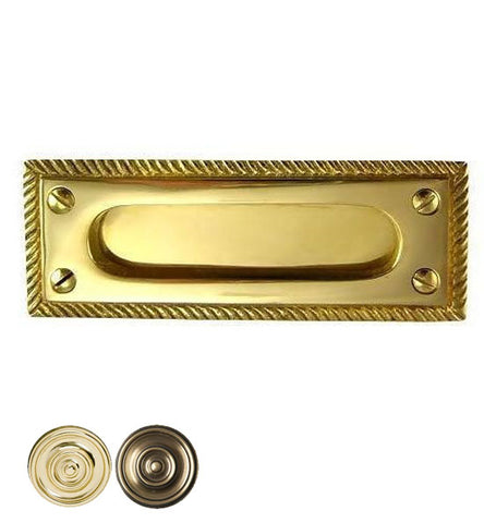 Rectangular Georgian Roped Solid Brass Sash Pull